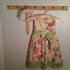 Blueberi boulevard Size 6 Green Pink Flower Dress